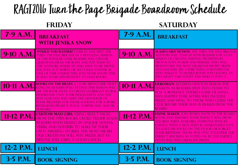 RAGT2016 Boardroom Schedule